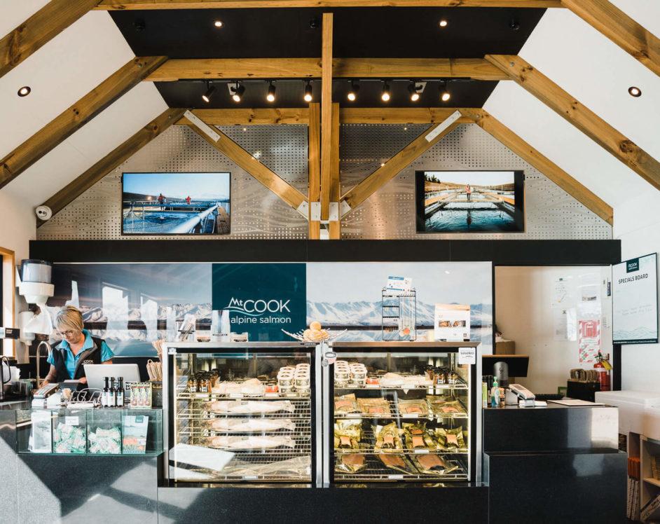 Fresh Salmon for sale in the interior of Mt Cook Alpine Salmon Pukaki Store